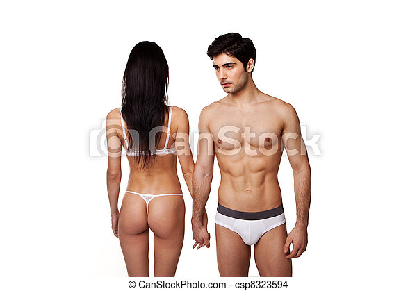 Fit Sexy Couple In Underwear - csp8323594