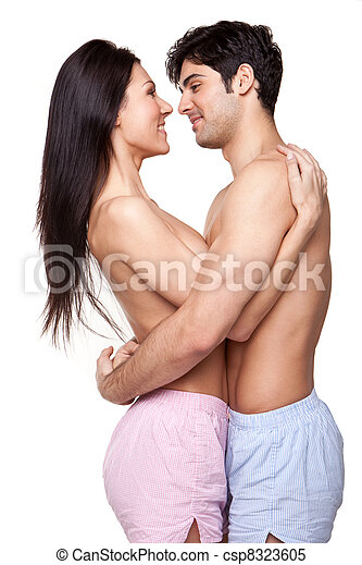 Smiling Couple In Loving Embrace - csp8323605