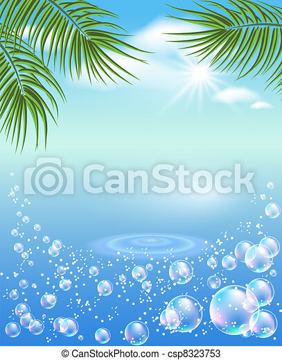 Palm tree and bubbles - csp8323753