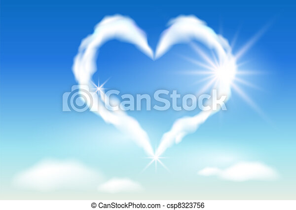 Cloud heart  and  sunshine - csp8323756
