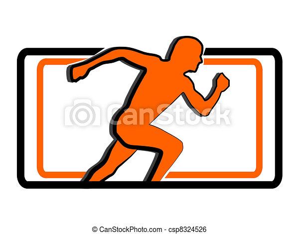 running man sport logo - csp8324526