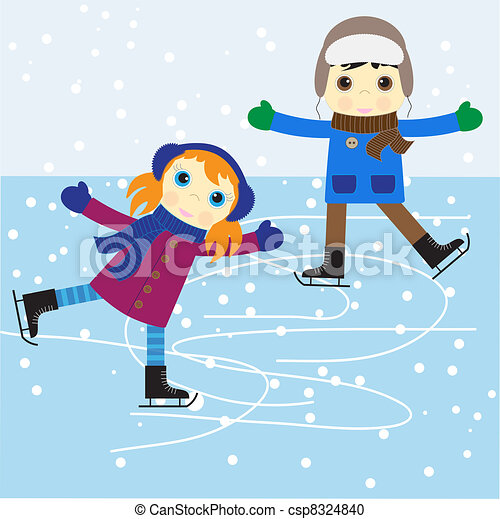 Clip Art Ice Skate Clipart ice skating clip art and stock illustrations 9528 clipartby jesser1109 boy girl vector illustration