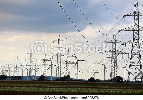 wind turbine with power poles - csp8325376