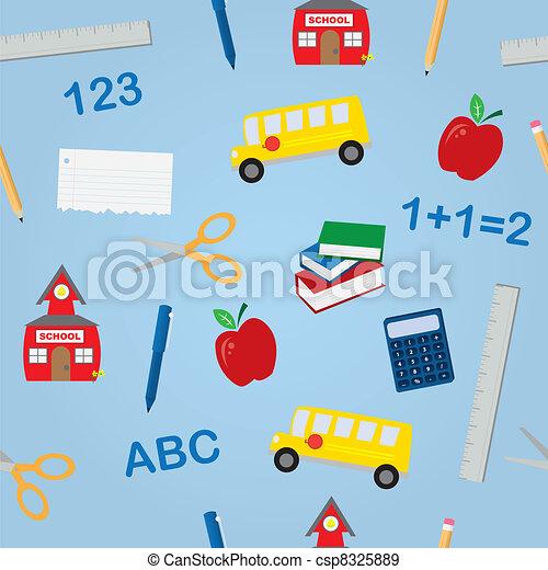 School Objects Seamless Pattern  - csp8325889