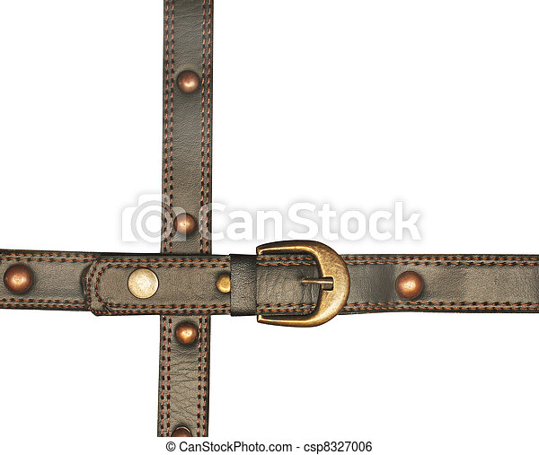 Leather belt with metal buckle - csp8327006