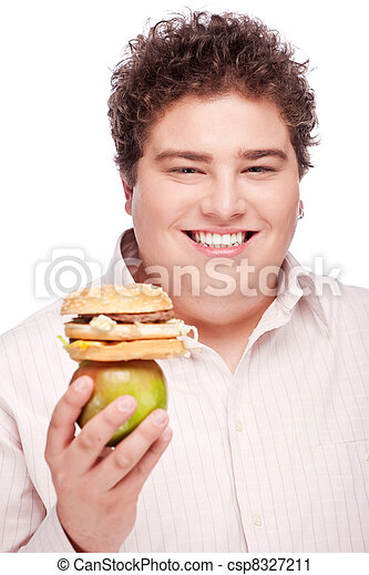 chubby man holding apple and hamburger - csp8327211