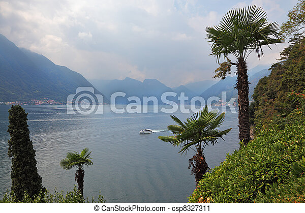 Lake Como in the misty haze - csp8327311