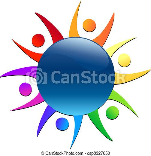 Teamwork around world logo - csp8327650