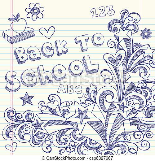 Back to School Sketchy Doodles - csp8327667