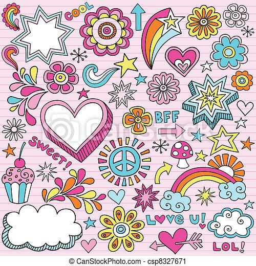 School Notebook Doodles Vector - csp8327671
