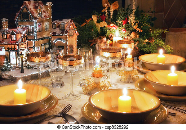 Christmas dinner table  with christmas mood - csp8328292