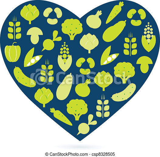 Healthy food heart isolated on white ( blue & green ) - csp8328505