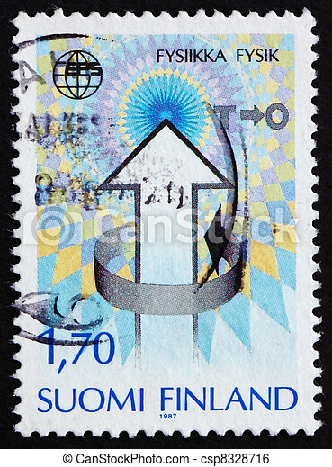 FINLAND - CIRCA 1987: a stamp printed in the Finland shows Emblem of 7th general conference of European Physics Society, Helsinki, circa 1987 - csp8328716
