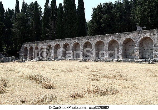 Asklepion place on the island of Kos where Hippocrates has built one of the first hospitals in the European civilization - csp8328982