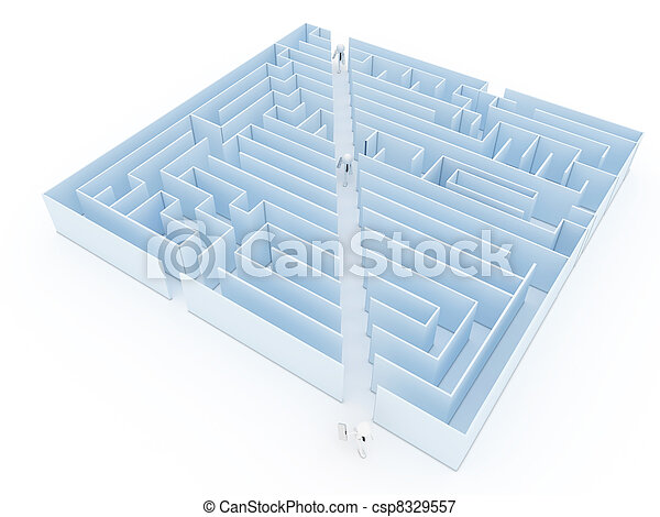 Leadership and business vision with strategy in corporate challenges and obstacles in a maze with men in a labyrinth with a clear solution shortcut path for success.  - csp8329557