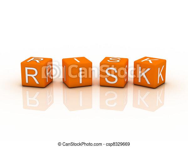 Risk Blocks, orange color on white background - csp8329669