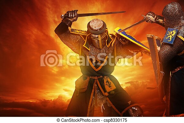 Two medieval knights fights against stormy sky background. - csp8330175