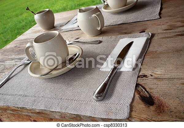 Table setting in cafe. - csp8330313