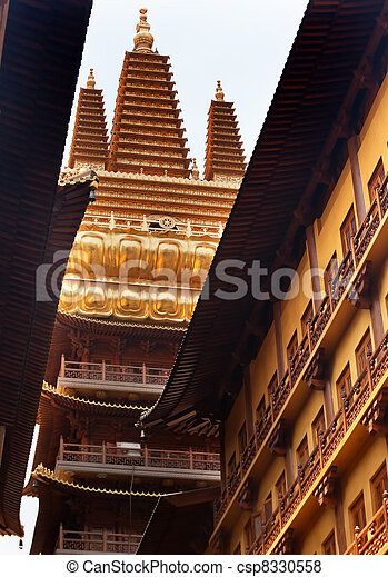 Golden Temple, Wooden Buildings, Roof Top Jing An Tranquility Temple Shanghai China Richest Buddhist temple in Shanghai - csp8330558