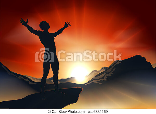 Man on mountaintop with arms out - csp8331169