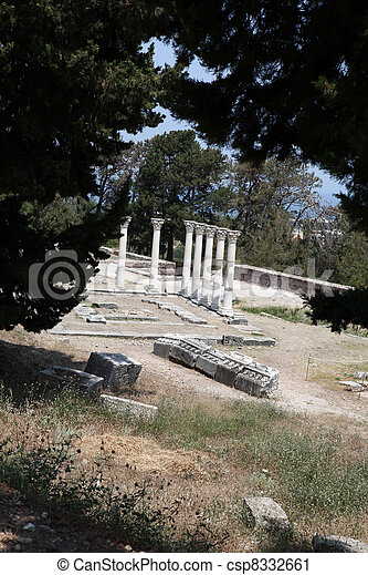 Asklepion place on the island of Kos where Hippocrates has built one of the first hospitals in the European civilization - csp8332661