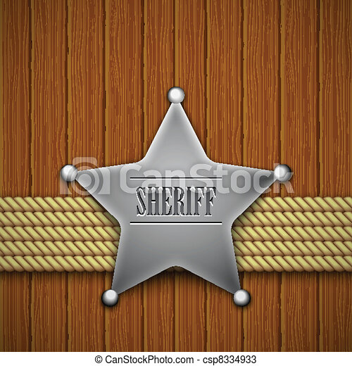 Sheriff's badge on a wooden background. - csp8334933