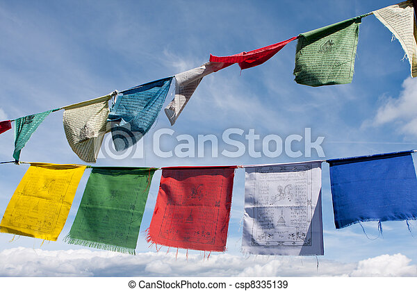 Tibetan buddhist prayer flags - csp8335139