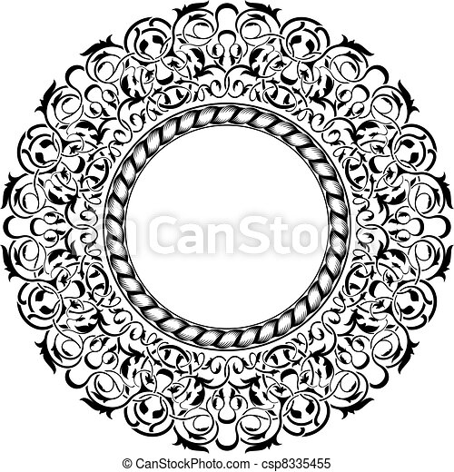 Black frame with ornamental border  - csp8335455