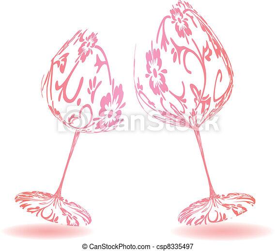 A pair of wine glasses - csp8335497