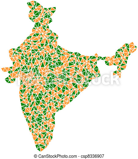 Mosaic of India (Asia) - csp8336907