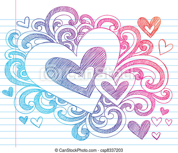 Vectors of Valentines Day Heart Sketchy Doodle - Valentine's Day Love ...