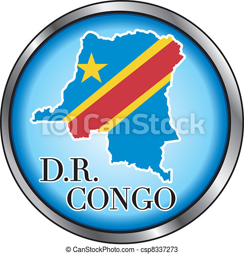DR Congo Rep Round Button - csp8337273