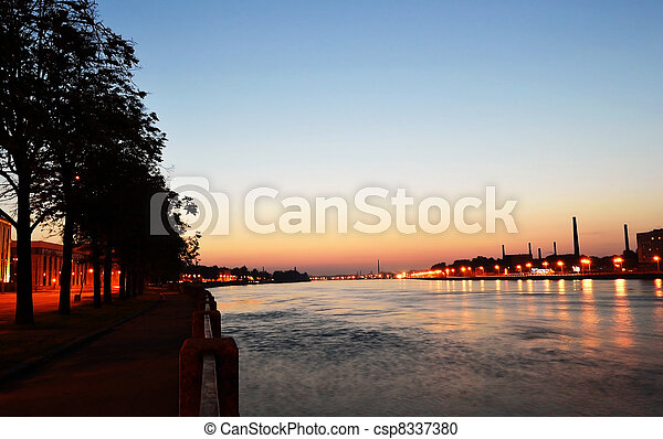 View of Neva river after sunset - csp8337380