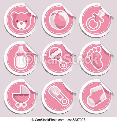 Pink Baby Shower Stickers. - csp8337907