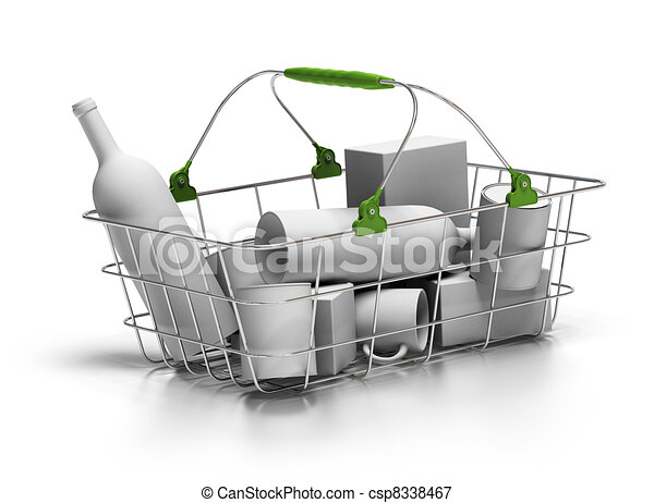 metal basket with white goods inside, 3d render, green plastic parts, white background - csp8338467