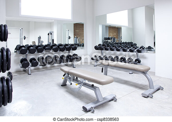 Fitness club weight training equipment gym - csp8338563