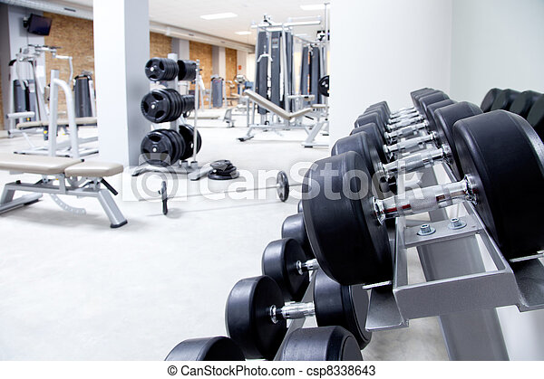 Fitness club weight training equipment gym - csp8338643