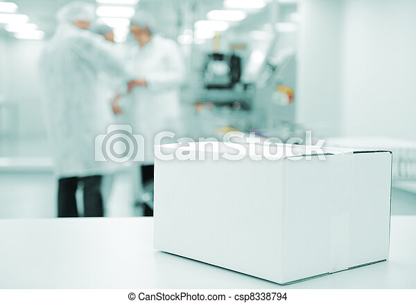 White box at automated production line at modern factory - ready for your logotype - csp8338794