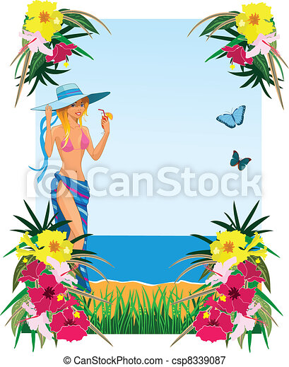 Background with tropical plants - csp8339087