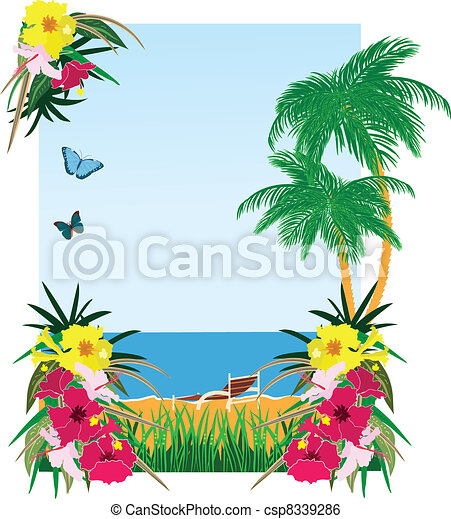 Background with tropical plants - csp8339286
