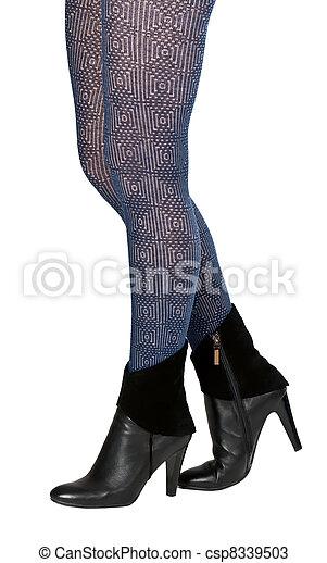 shapely, femininas, pernas, pantyhose, sapatos - csp8339503