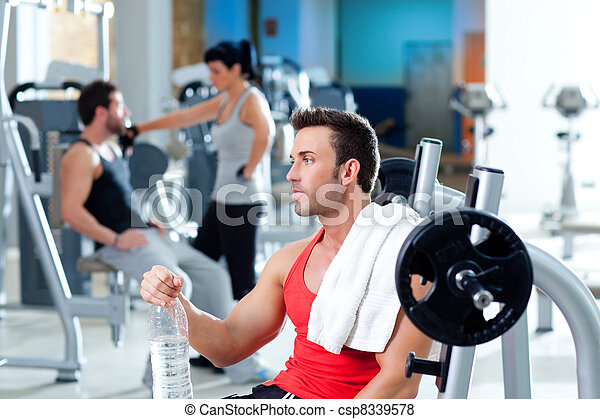 man relaxed on gym after fitness sport training - csp8339578