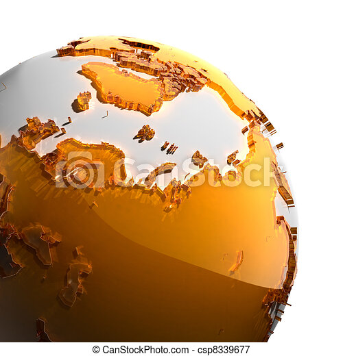 A fragment of the Earth with continents of orange glass - csp8339677