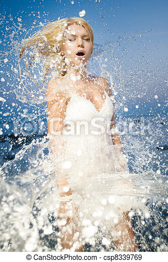 young woman refreshing - csp8339769