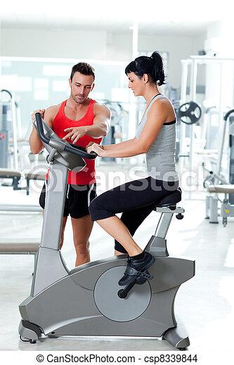 トレーナー, 個人的, 女, 自転車, 動かない - csp8339844