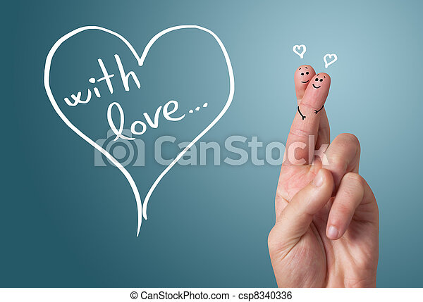 Painted finger smiley, valentine's day - csp8340336