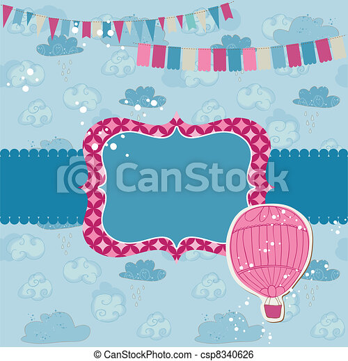 Party Card with Air balloon - for invitation, congratulation, scrapbook - csp8340626
