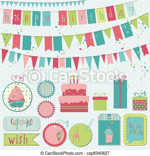 Retro Birthday Celebration Design Elements - for Scrapbook, Invitation in vector - csp8340627
