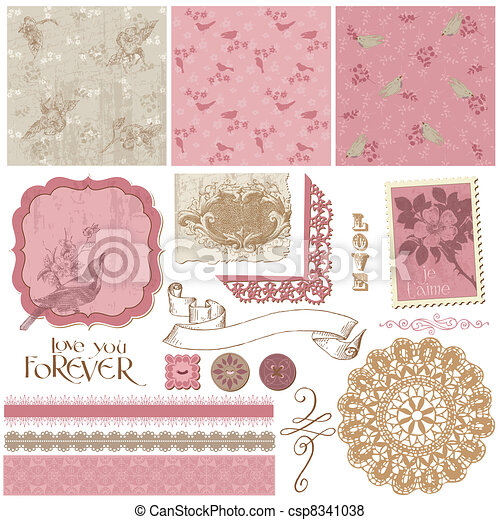 Scrapbook Design Elements - Vintage Birds and Flowers - csp8341038