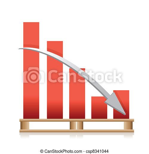 falling cargo shipping sales graph  - csp8341044